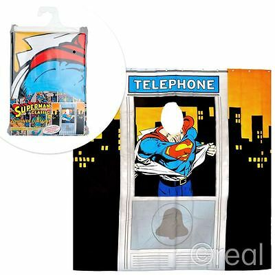 New DC Comics Superman Telephone Box Shower Curtain Novelty Retro Booth Official