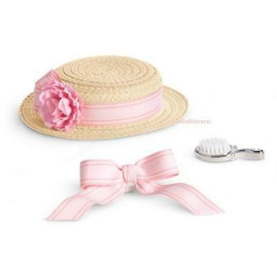 New American Girl Samantha's Hairstyling Set Hair Brush~Ribbon~Boater Summer Hat