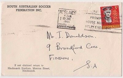Stamp 5d Monash on South Australia Soccer Federation cover Adelaide to Findon