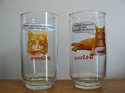 """9 LIVES Morris The Cat Set Of 2 ddrinking Glasses 5"""" Tall"""