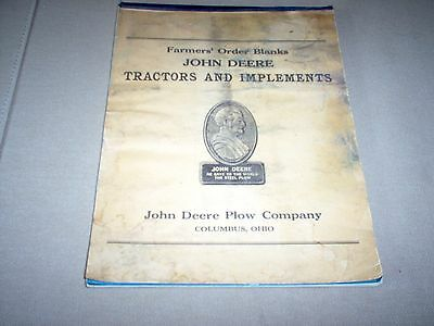1940's/50's John Deere Farmers Order Blanks TRACTOR AND IMPLEMENTS