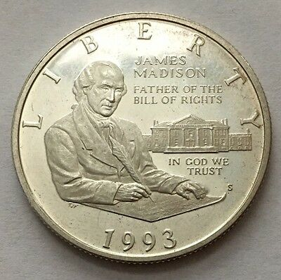 1993-S James Madison Half Dollar Silver Coin