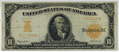 1907 $10 Gold Certificate, Fr#1172, VG Condition