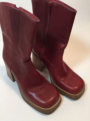 Retro Red Leather Ankle Boots Connie Too Women's Size 6.5