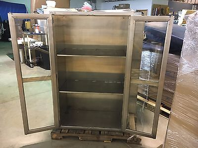 Double Door Stainless Steel / Glass medical storage cabinet w/ 4 shelves
