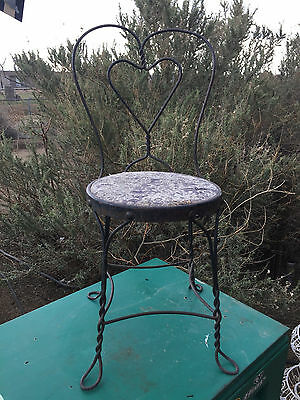 Antique Vintage Wrought Iron Ice Cream Sweetheart Loop Back Parlor Chair