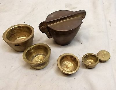 Antique Brass Nesting Scale Weight Set Apothecary 1lb Vtg Cup Folding Mercantile