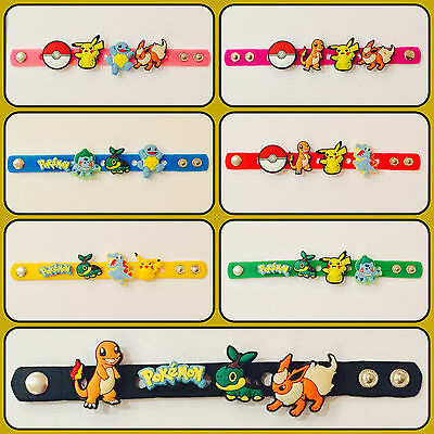 Kids Pokemon Pikachu Charmander Squirtle Popper Bracelet Wrist Band + 4 charms