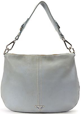 PRADA Authentic Light Blue Pebbled Leather Silver Hobo Shoulder Bag