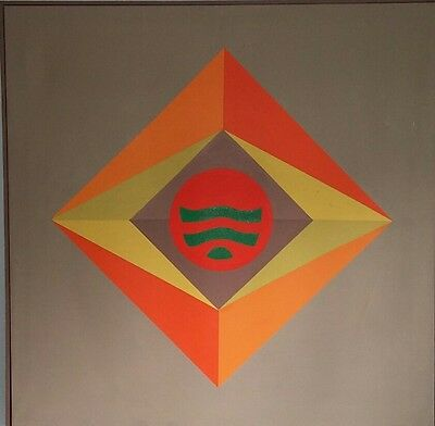 1972 Large Vintage Op Art Modernist Abstract Painting Canvas Mid Century Modern