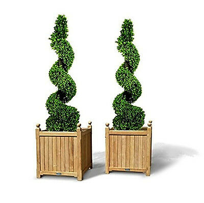 Pack of 2 Artificial Topiary Boxwood Spiral Trees (4ft/120cm) - NEW