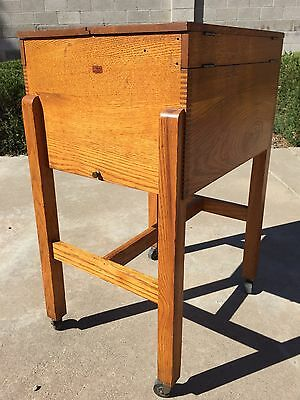 Antique WEIS Mission Oak Dovetailed Wheeled Legal File Cabinet MANHATTAN PROJECT