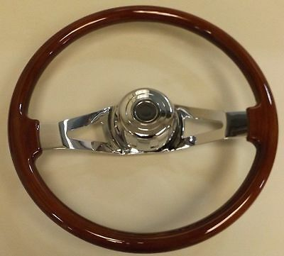 Peterbilt Chrome & Wood 18 Inch 2 Spoke Steering Wheel Upi 88015