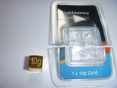 Unique Solid 10 Grams  Gold Cube  24K .9999 Fine Gold
