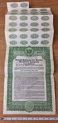 Detroit Railway And Harbor Terminals Company Gold Bond Stock 1925 Michigan