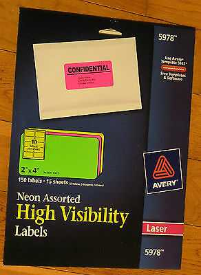 "Avery 5978 Neon Rectangle Laser Label - 2"" Width X 4"" Length 150 LABELS"
