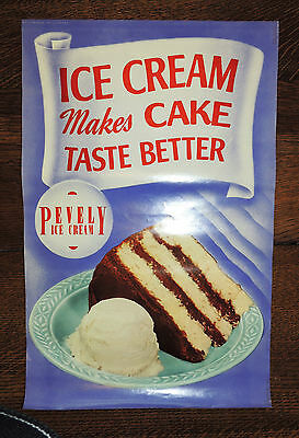 "1930's PEVELY DAIRY ST LOUIS ICE CREAM ADVERTISING STORE DISPLAY POSTER ""CAKE"""