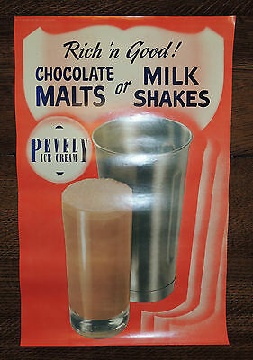 "1930's PEVELY DAIRY ST LOUIS ICE CREAM ADVERTISING STORE DISPLAY POSTER ""MALT"""