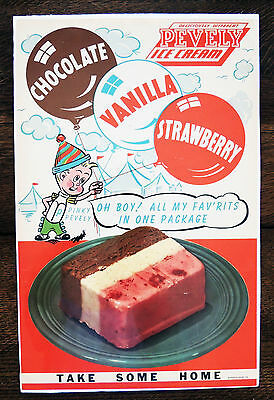 1940's PINKY PEVELY DAIRY StL ICE CREAM ADVERTISING STORE DISPLAY POSTER CIRCUS