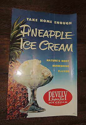 "1950's PEVELY DAIRY ST LOUIS ICE CREAM ADVERTISING STORE DISPLAY POSTER ""PINEAP"""