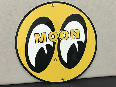 MOON gasoline sign man cave advertising  round metal
