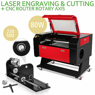 80W CO2 Laser Engraving Cutter Kit Rotary A-AXIS Air Assist DSP Control Cutting