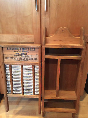 Vintage Columbus Washboard Cabinet Rustic Shelf Primitive Cupboard Wood Storage