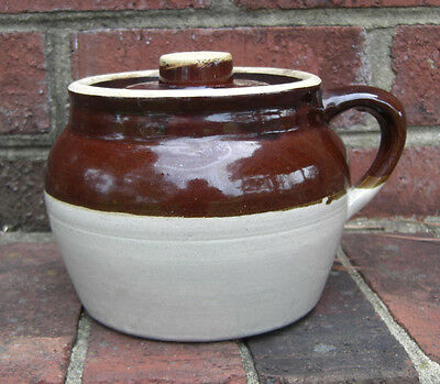 Antique Single Finger Baked Bean Pot W/ Lid -  Brown Usa Signed Stoneware