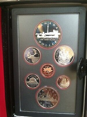 1984 Canadian Mint Double Dollar Proof Set; 7 Coins, Case & Certificate