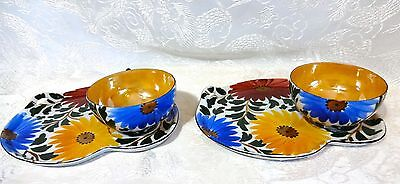 2 Japanese Porcelain THIN Egg Shell Lustreware Snack Sets ~ Hand Painted Floral