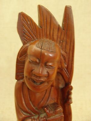 Antique Chinese Hand Carved Boxwood Lucky Laughing Wealth Buddha Statue 8.25""