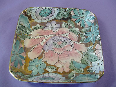 Vintage H.F.P. Macau Square Chinese Dish Made In China Toyo 2A Floral Gold Gilt