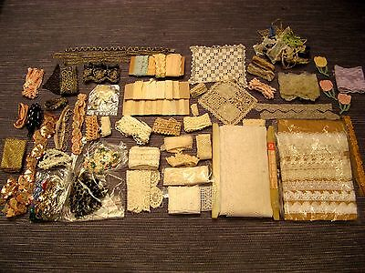HUGE LOT of VTG & ANTIQUE FANCY LACE TRIMS, TATTING & CROCHET - many HANDMADE,