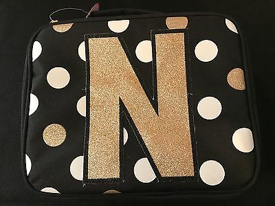 JUSTICE for Girls Cute polka dots Lunch Box Initial ~N~ NWT!
