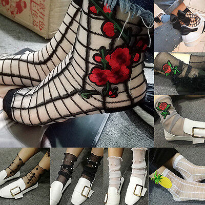 Womens Fashion Ruffle Fishnet Ankle High Socks Mesh Lace Fish Net Short Socks