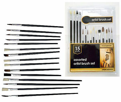 New 15PC Assorted Artist Paint Brush Set Wood Handle Flat And Tipped Drawing Art