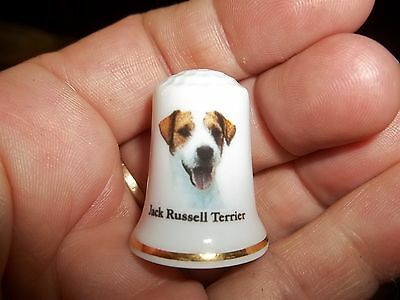 vintage JACK RUSSELL TERRIER Dog Collectible ceramic Thimble figurine Lim.Ed.