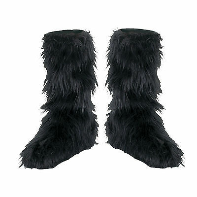 NEW Fuzzy Black Child Costume Fancy Dress Boot Covers, One-Size, One-Size