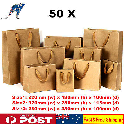 50x Kraft Gift Bags With Ribbon Handle Brown Paper Carry Bags Shopping Bags AU