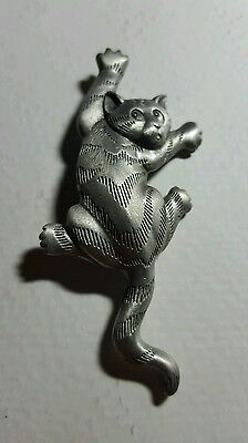 Cat pin,  climbing in fear,  Cat brooch,  pewter