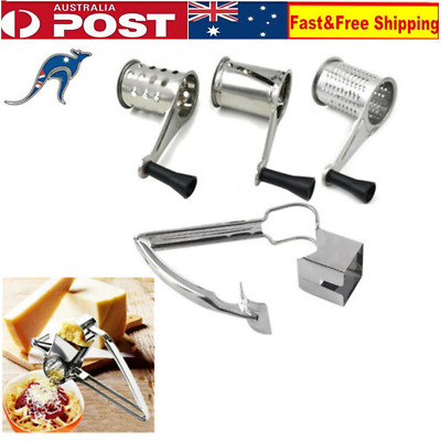 Rotary Cheese Grater Stainless Steel + 3 Drums Set Slicer Hand Held Ginger Cut