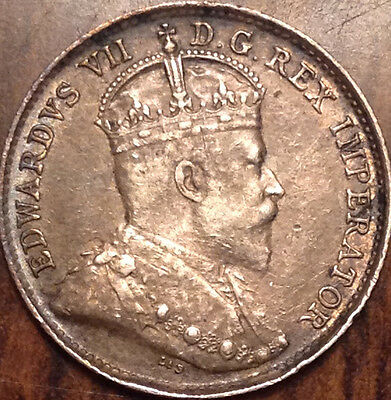 "1902 Small ""h"" Canada Silver 5 Cents Super Scarce Coin In Great Condition !!"