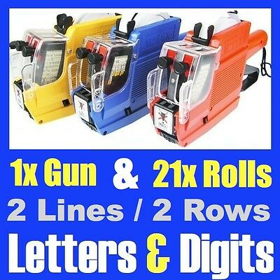 Alphanumeric Tag Price Gun Labeller + 21 Rolls / 2 Line 10 Letters 10 Numbers