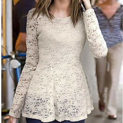 Womens Casual Lace Long Sleeve Bandage Bodycon White Party Evening Dress Size L