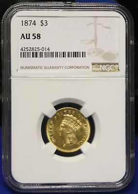 1874 $3 Gold Indian Princess NGC slabbed Certified AU-58