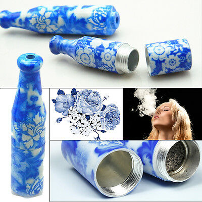 Smoke Tobacco Pipe Glass Ball Metal Screen Blue and White Porcelain Shape Filter