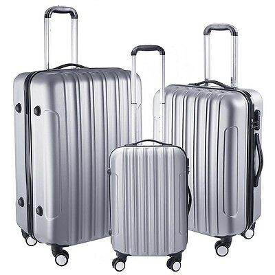 3Pcs Luggage Travel Set Bag ABS + PC 4 Wheels Trolley Suitcase Code Lock Silver