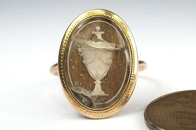 ANTIQUE ENGLISH GEORGIAN PERIOD 15K GOLD URN LOCKET MOURNING RING c1780