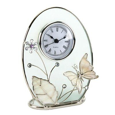 Chrome Wire with Enamel Butterfly Design Mantel Clock Roman Numerals 16.5cm