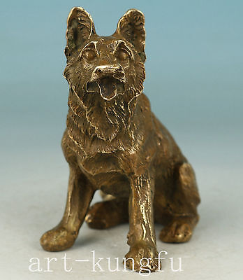 Chinese Old Bronze Collection Handmade Carved Wolf Statue Noble Gift